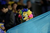 An Astana supporter is seen during the UEFA Champions League Group C football match between FC Astana and Galatasaray AS at Astana Arena on September...