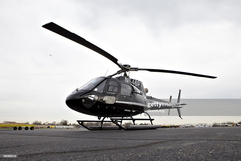 An A-star 350 B-2 helicopter made by Eurocopter SA, one of six in the fleet of Liberty Helicopters Inc., sits on the tarmac at Linden Airport in Linden, New Jersey, U.S., on Thursday, March 25, 2010. Liberty Helicopters Inc. is offering to fly weary commuters from New Jersey to Manhattan for about $200 a day, saving them 14 hours in traffic a week and signaling that Wall Street may have seen the worst of the recession. Photographer: Daniel Acker/Bloomberg via Getty Images