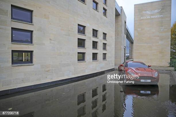 An Aston Martin car is displayed outside the company's manaufacturing site during a visit by Labour Leader Jeremy Corbyn on November 16 2017 in...