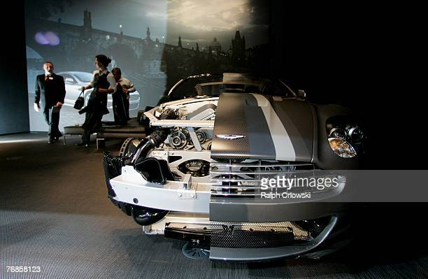 An Aston Martin DBS model is displayed in the private lounge at the exibition stand of British car maker Aston Martin during the IAA September 19...