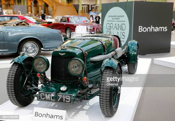 An Aston Martin Ulster Sports model 1935 is displayed during a press preview before a mass auction of vintage vehicles organised by Bonhams auction...
