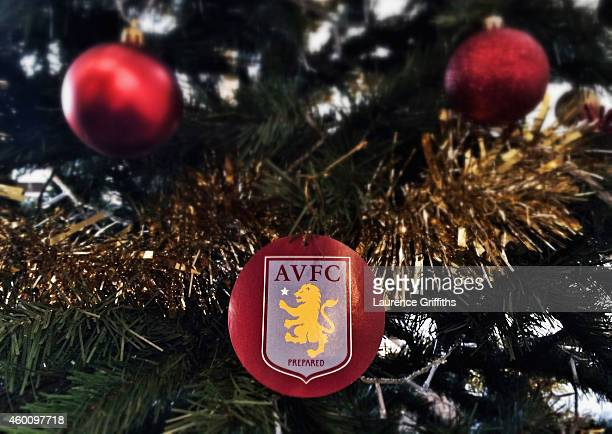 An Aston Villa decoration hangs on a Christmas tree ahead of the Barclays Premier League match between Aston Villa and Leicester City at Villa Park...