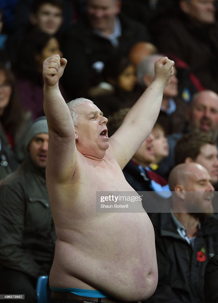 An Aston Villa fan shows his support during the Barclays Premier League match between Aston Villa and Manchester City at Villa Park on November 8, 2015 in Birmingham, England.
