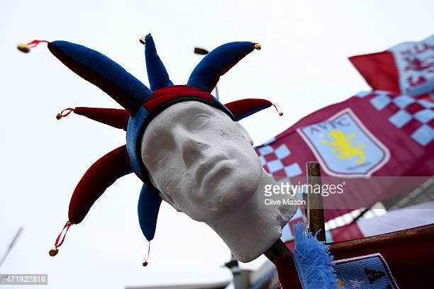 An Aston Villa jester's hat is displayed prior to the Barclays Premier League match between Aston Villa and Everton at Villa Park on May 2 2015 in...