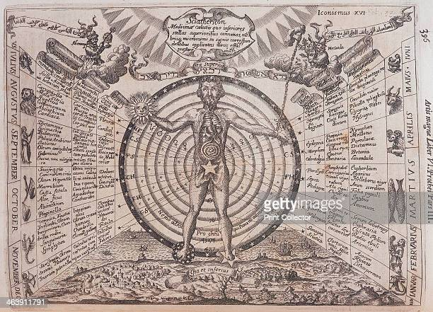An astrological chart 1646 A man with his internal organs revealed standing in front of a circular chart One hand has been replaced by a sun the...