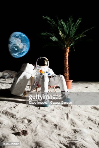 Man Drinking Beer On Moon