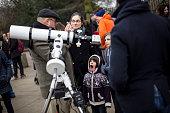 An astronomer describes the process of a solar eclipse to visitors at The Royal Observatory Greenwich on March 20 2015 in London England Hundreds of...