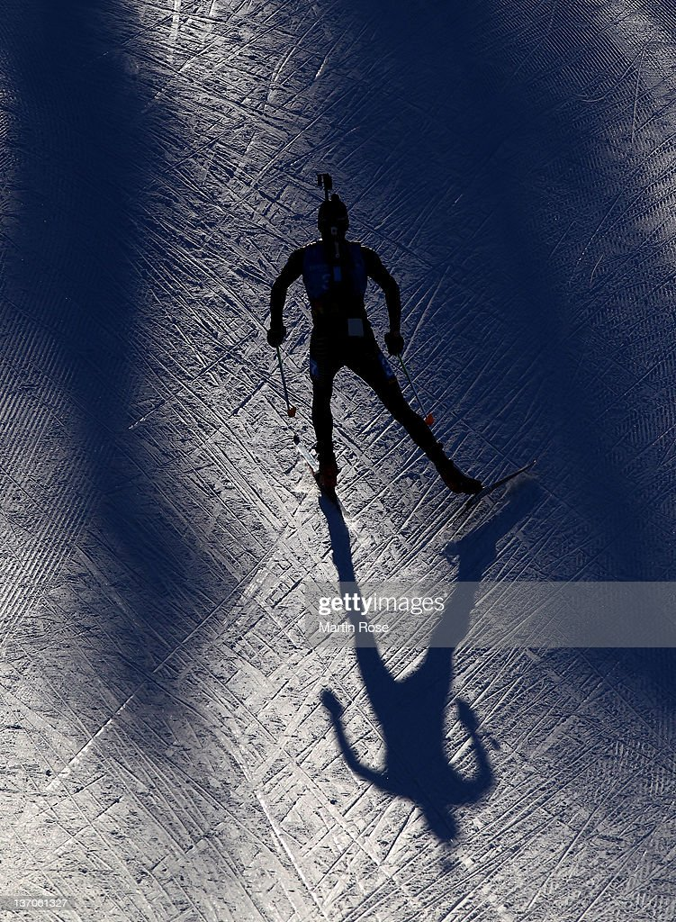 An athelet competes at the Biathlon men's 7,5 km sprint race during the Winter Youth Olympic Games at Seefeld Arena on January 15, 2012 in Seefeld, Austria.