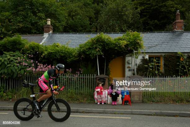 An athlete competes during the bike leg of IRONMAN 703 Dublin as spectators watch on August 20 2017 in Dublin Ireland