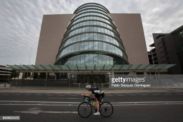An athlete competes during the bike leg of IRONMAN 703 Dublin on August 20 2017 in Dublin Ireland