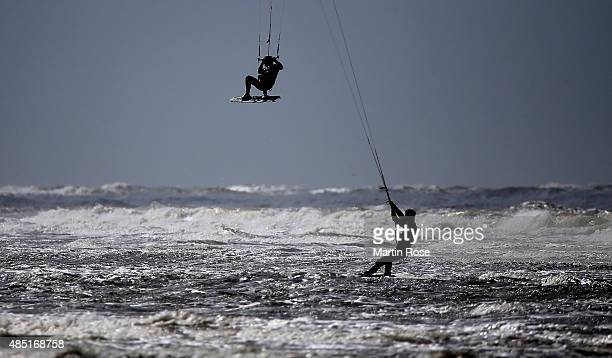 An athlete competes during the Pringles the kite surf world cup on August 25 2015 in St PeterOrding Germany