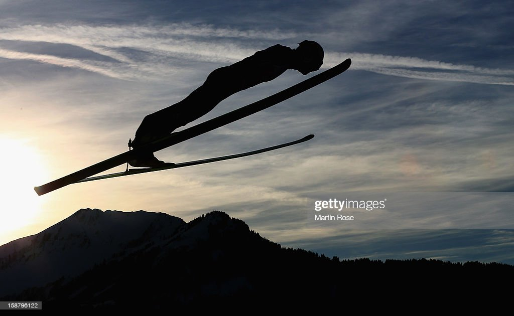 An athlete competes during the qualification round for the FIS Ski Jumping World Cup event of the 61th Four Hills ski jumping tournament at Erdinger Arena on December 29, 2012 in Oberstdorf, Germany.