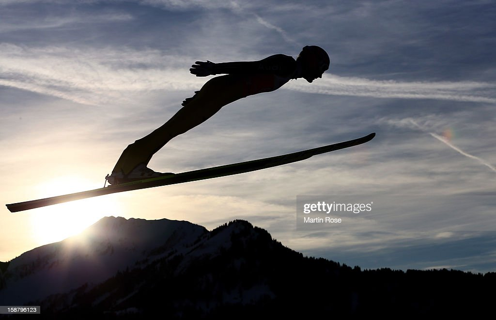 An athlete competes during the qualifikation round for the FIS Ski Jumping World Cup event of the 61th Four Hills ski jumping tournament at Erdinger Arena on December 29, 2012 in Oberstdorf, Germany.