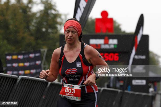 An athlete competes during the run leg of IRONMAN 703 Dublin on August 20 2017 in Dublin Ireland