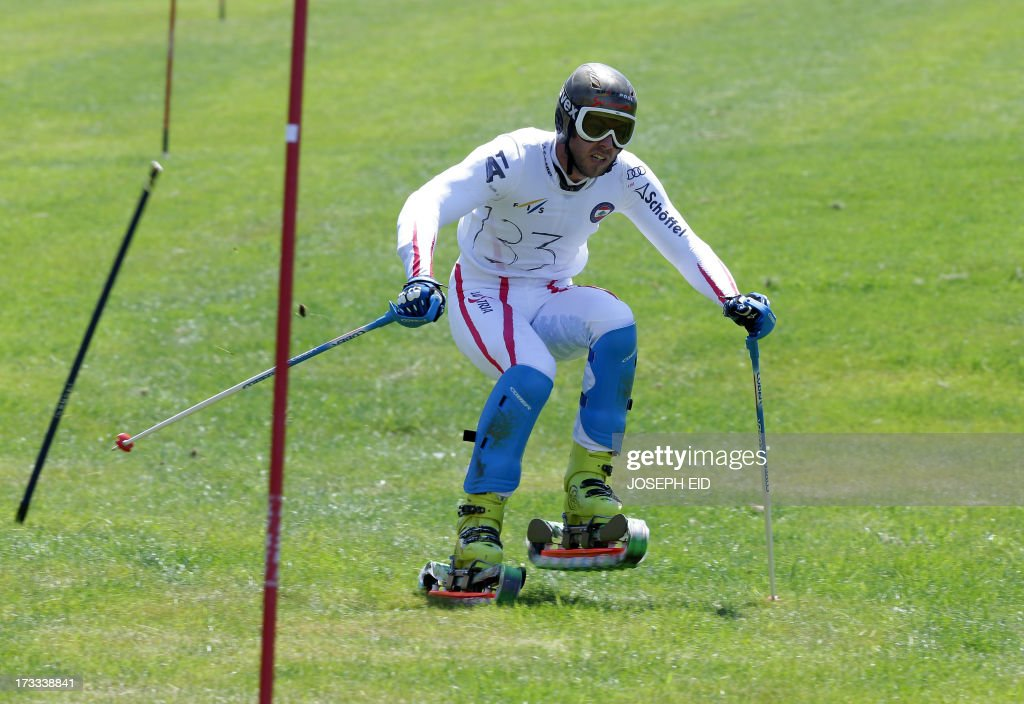 An athlete competes during the slalom event of the 4th World Cup Grass Ski Leg Lebanon 2013 in Faqra in the Lebanese mountains on July 12, 2013. The event runs until July 14, 2013.