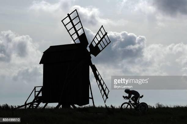An athlete competes in bike section of Ironman Kalmar on August 19 2017 in Kalmar Sweden