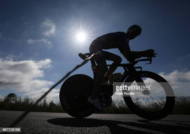 An athlete competes in the bike section of the KMD IRONMAN 703 European Championship Elsinore on June 18 2017 in Helsingor Denmark