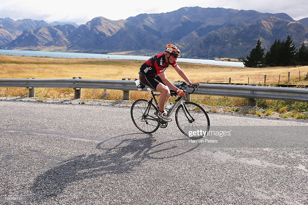 An athlete competes in the Challenge Wanaka on January 19, 2013 in Wanaka, New Zealand.