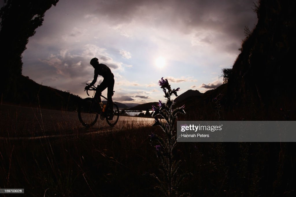 An athlete competes in the cycle leg during Challenge Wanaka on January 19, 2013 in Wanaka, New Zealand.
