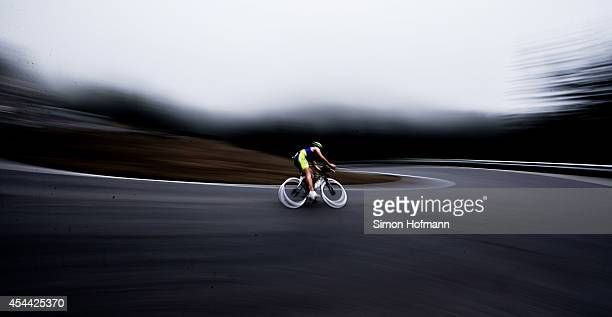 An athlete competes in the cycling at Ironman 703 Zell am SeeKaprun on August 31 2014 in Zell am See Austria