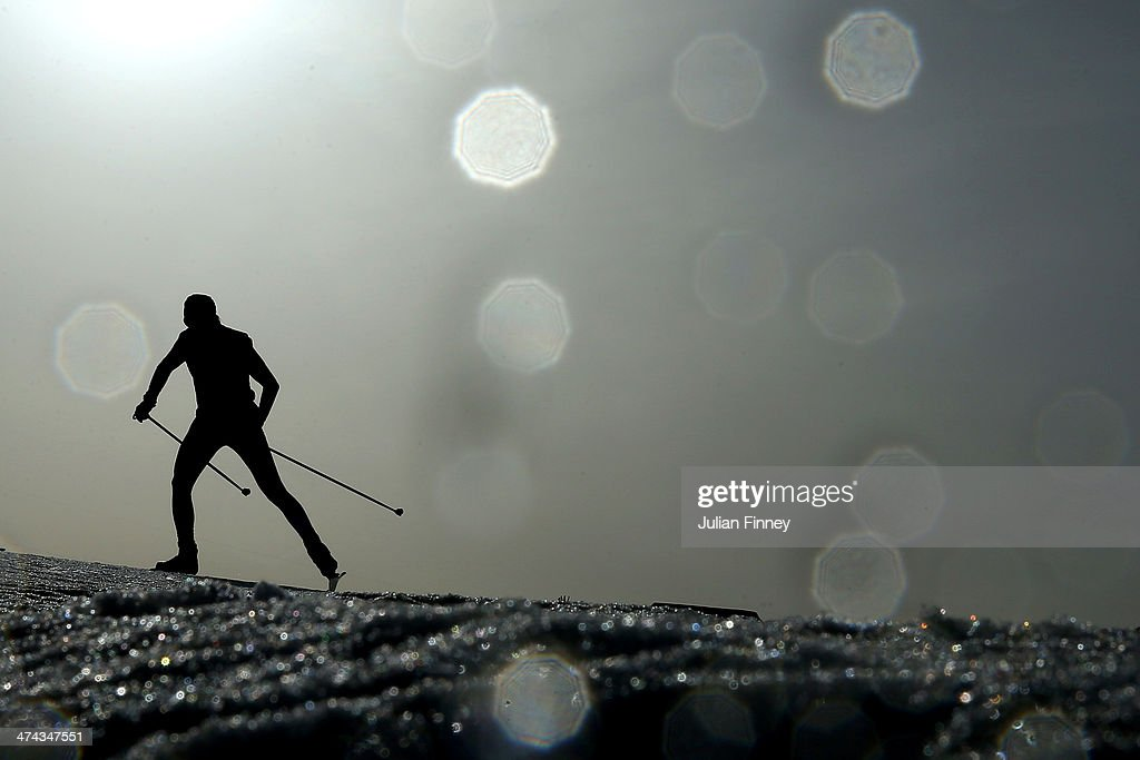 An athlete competes in the Men's 50 km Mass Start Free during day 16 of the Sochi 2014 Winter Olympics at Laura Cross-country Ski & Biathlon Center on February 23, 2014 in Sochi, Russia.