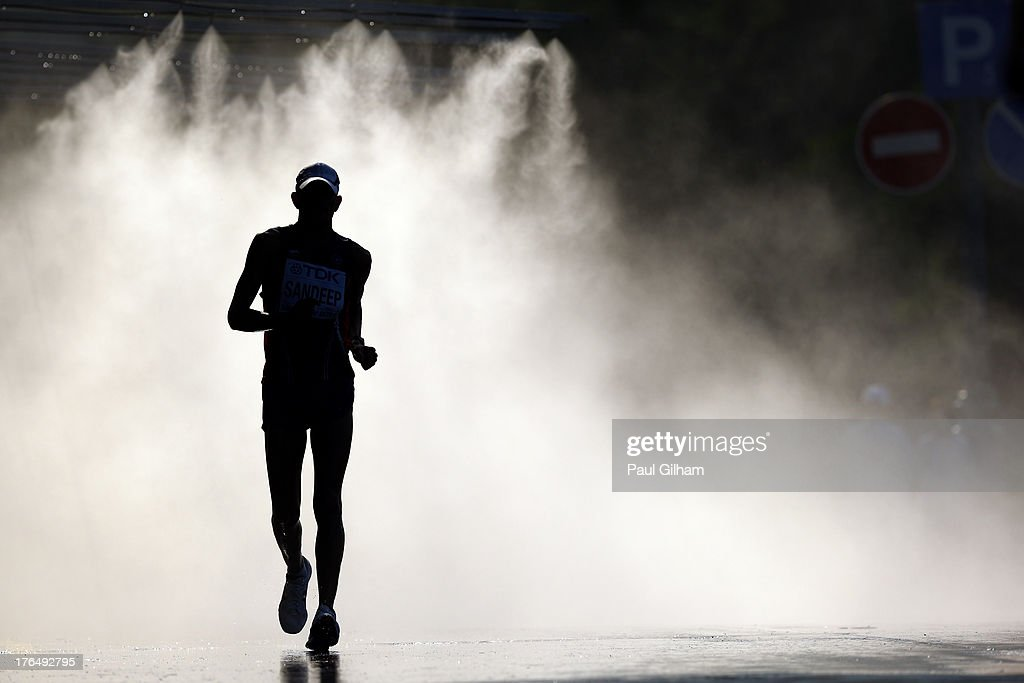 An athlete competes in the Men's 50km Race Walk final during Day Five of the 14th IAAF World Athletics Championships Moscow 2013 at Luzhniki Stadium on August 14, 2013 in Moscow, Russia.