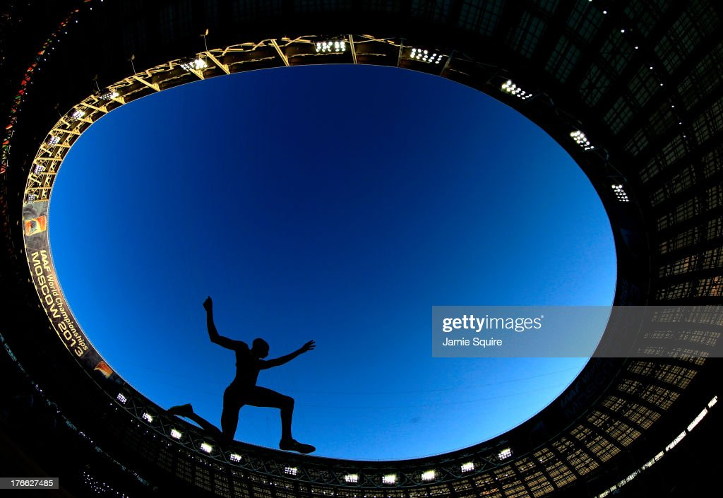 An athlete competes in the Men's Long Jump final during Day Seven of the 14th IAAF World Athletics Championships Moscow 2013 at Luzhniki Stadium at Luzhniki Stadium on August 16, 2013 in Moscow, Russia.