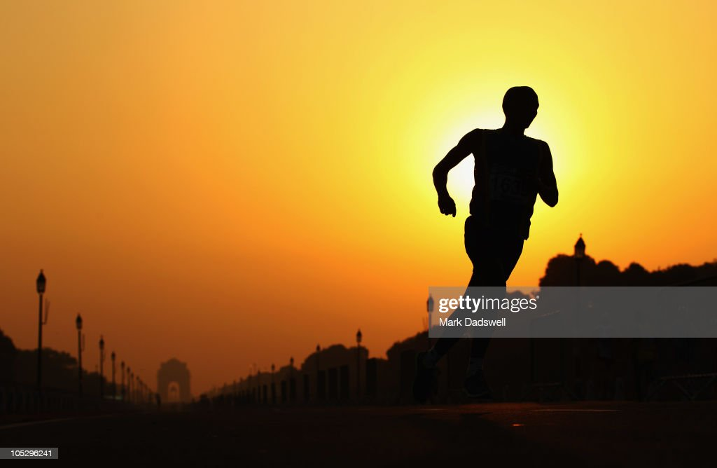 An athlete competes in the Men's Marathon at Vijay Chowk during day eleven of the Delhi 2010 Commonwealth Games on October 14, 2010 in Delhi, India.