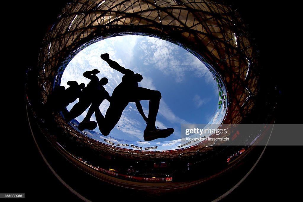 An athlete competes in the Men's Triple Jump qualification during day five of the 15th IAAF World Athletics Championships Beijing 2015 at Beijing National Stadium on August 26, 2015 in Beijing, China.