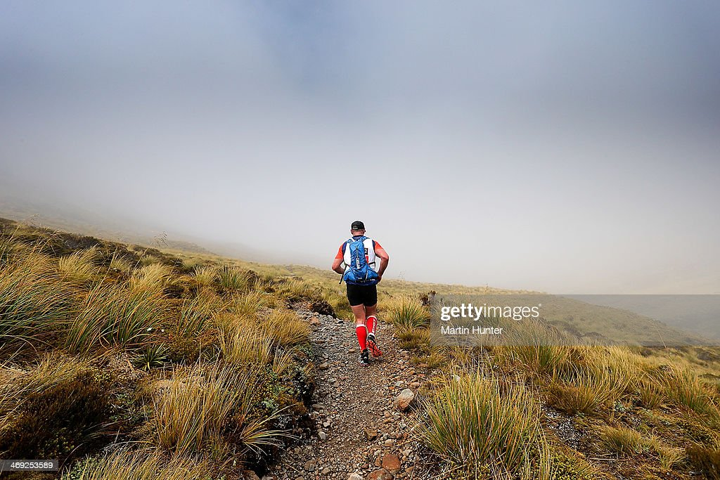 An athlete competes in the mountain run in the two day team event during the Speights Coast to Coast on February 14, 2014 in Christchurch, New Zealand.