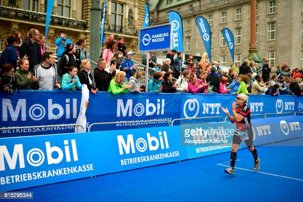 An athlete competes in the Olympic distance at Hamburg Wasser ITU World Triathlon Championships 2017 on July 16 2017 in Hamburg Germany