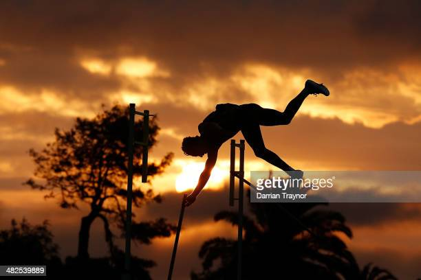 An athlete competes in the pole vault during the 92nd Australian Athletics Championships at Olympic Park on April 4 2014 in Melbourne Australia
