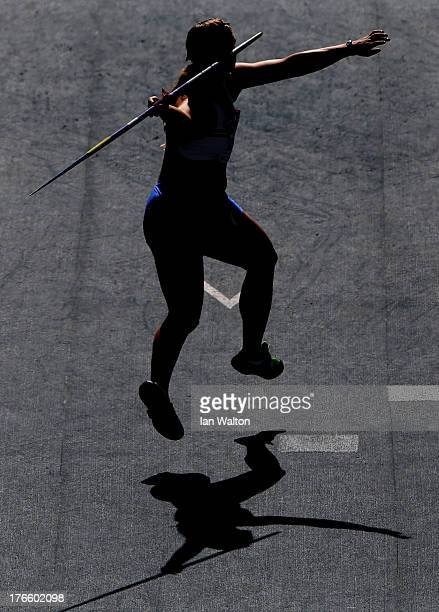 An athlete competes in the Women's Javelin qualification during Day Seven of the 14th IAAF World Athletics Championships Moscow 2013 at Luzhniki...