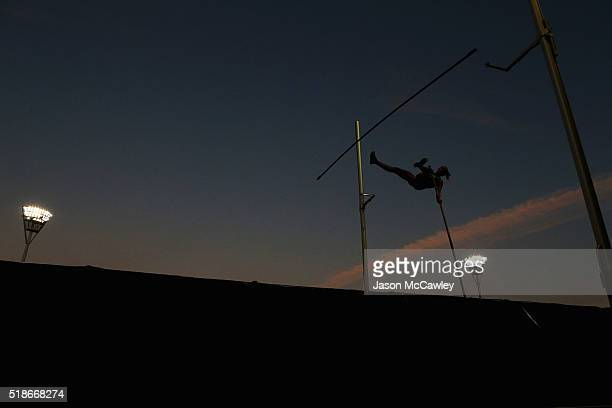 An athlete competes in the womens pole vault during the Australian Athletics Championships at Sydney Olympic Park on April 2 2016 in Sydney Australia