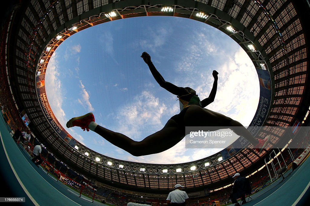 LENS) An athlete competes in the Women's Triple Jump final during Day Six of the 14th IAAF World Athletics Championships Moscow 2013 at Luzhniki Stadium on August 15, 2013 in Moscow, Russia.