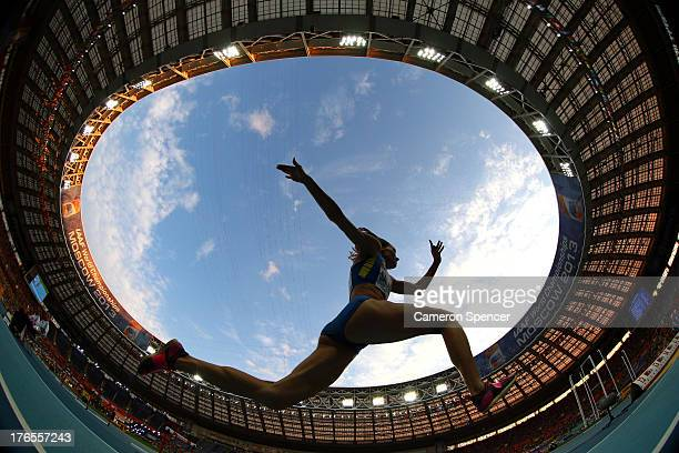 An athlete competes in the Women's Triple Jump final during Day Six of the 14th IAAF World Athletics Championships Moscow 2013 at Luzhniki Stadium on...