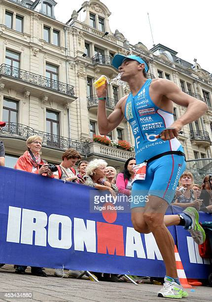 An athlete in action during the run section of Ironman 703 European Championship on August 10 2014 in Wiesbaden Germany