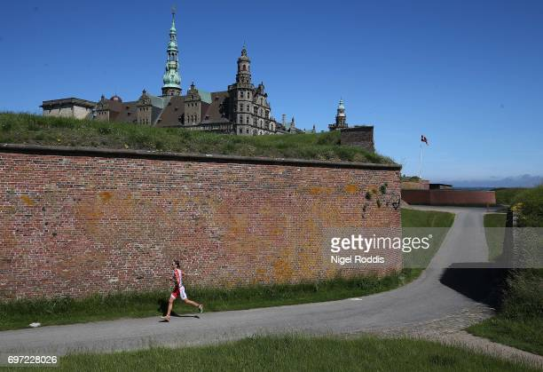 An athlete in action during the run section of the KMD IRONMAN 703 European Championship Elsinore on June 18 2017 in Helsingor Denmark