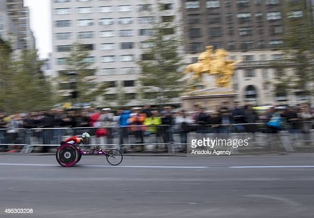 An athlete in the wheelchair division competes during the TCS New York City Marathon on November 1 2015 in New York City
