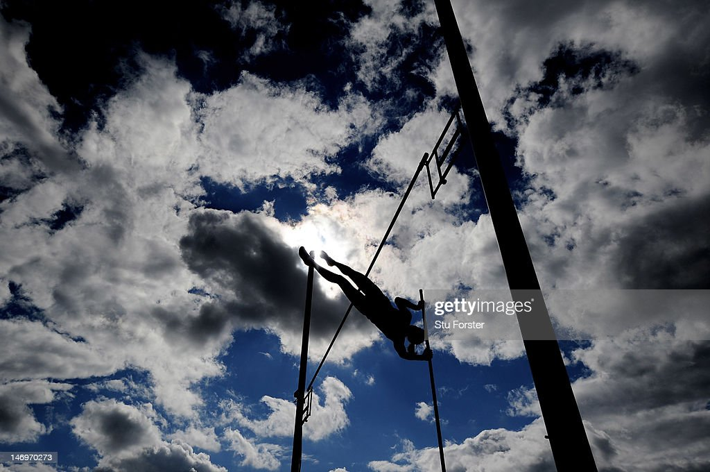 An athlete makes a clearance during the Women's Pole Vault Final during day three of the Aviva 2012 UK Olympic Trials and Championship at Alexander...