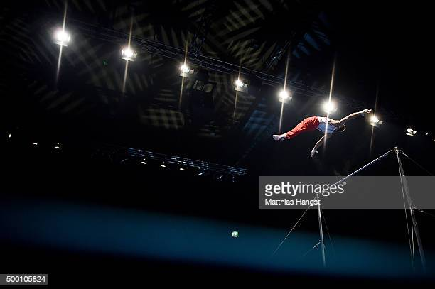 An athlete of MTV Stuttgart competes in the Parallel Bars during the DTL Finals 2015 at Messehalle 2 on December 5 2015 in Karlsruhe Germany
