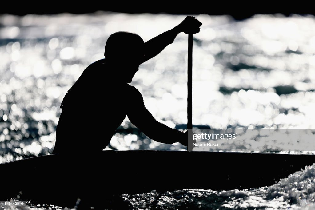 An athlete paddles into the sunshine during training at Lee Valley White Water Centre on September 13, 2017 in London, England.