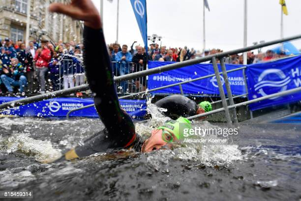 An athlete performs during the swim session of the Elite Mixed Relay at Hamburg Wasser ITU World Triathlon Championships 2017 on July 16 2017 in...