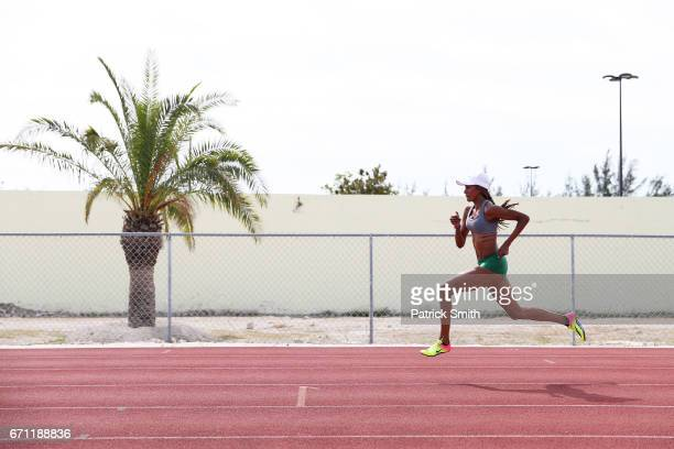 An athlete practices prior to the IAAF / BTC World Relays Bahamas 2017 at the Thomas Robinson Stadium on April 21 2017 in Nassau Bahamas
