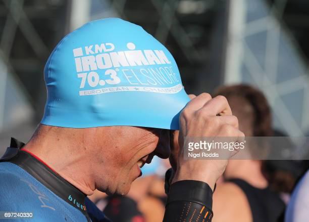 An athlete prepares for the KMD IRONMAN 703 European Championship Elsinore on June 18 2017 in Helsingor Denmark