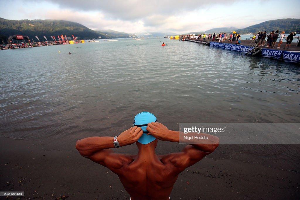 An athlete prepares for the swim section of Ironman Austria on June 26, 2016 in Klagenfurt, Austria.