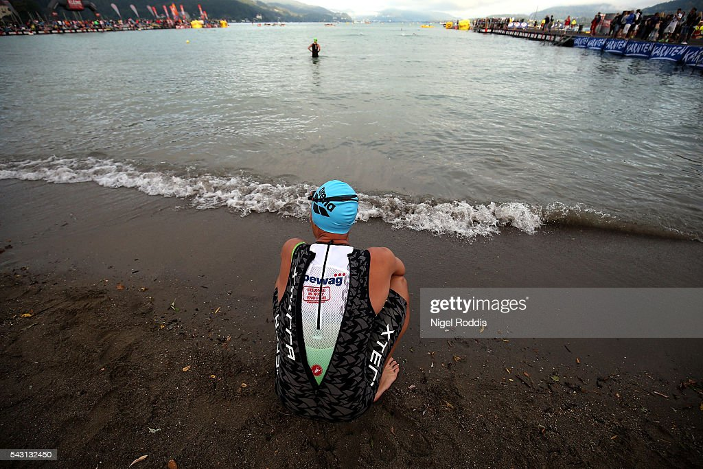 An athlete prepares for the swim section of Ironman Austria on June 26, 2016 in Klagenfurt, Austria.