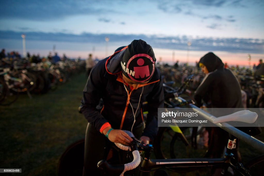 An athlete prepares her bike before taking part on the IRONMAN 70.3 Dublin on August 20, 2017 in Dublin, Ireland.