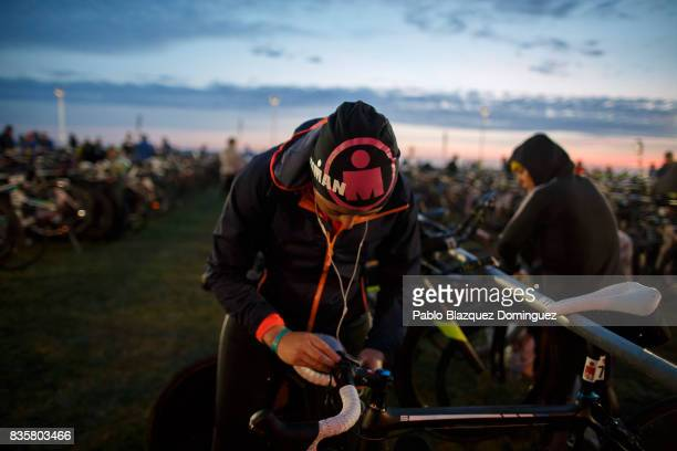 An athlete prepares her bike before taking part on the IRONMAN 703 Dublin on August 20 2017 in Dublin Ireland