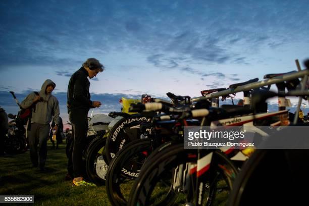 An athlete prepares his bike before the start of IRONMAN 703 Dublin on August 20 2017 in Dublin Ireland